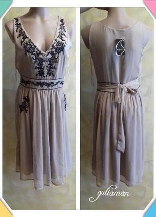 New!!! актуальное платье от oasis с вышивкой бисером )) m ))