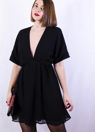 Черное вечернее платье с глубоким вырезом, шифоновое платье twin-set
