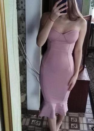 Розовое бежевое платье рыбка плаття сукня oh polly миди міді