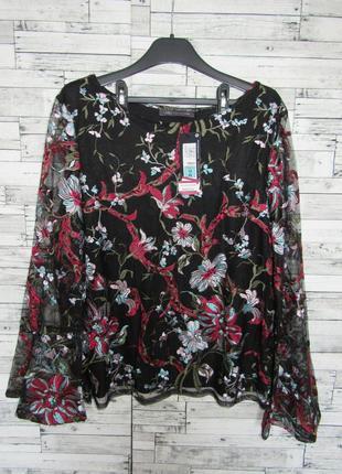 Блузка блуза из тюля с цветочной вышивкой m&s