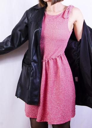 Романтичное розовое платье-тюльпан, сарафан в мелкую клетку zara