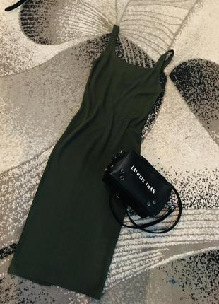 Платье сарафан миди хаки