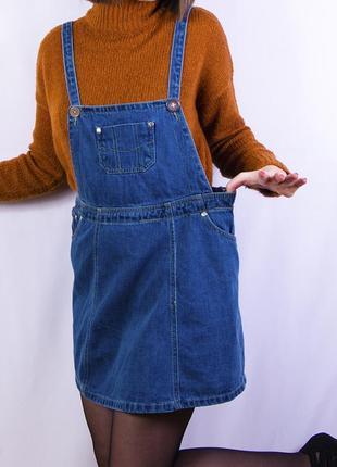 Стильный джинсовый комбинезон, синий джинсовый сарафан denim co