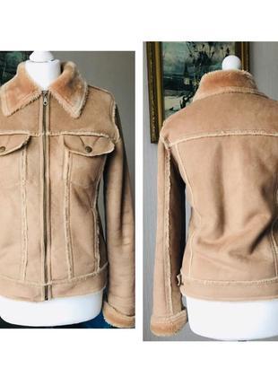 Дублёнка куртка пальто на меху зимняя размер s