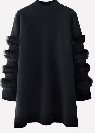 Скидка! идеальный удлинённый женский пуловер с мехом на рукавах,wer42black