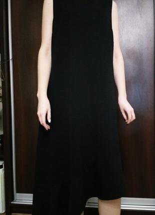 Обнова! платье ассиметричное миди макси волан черное asos