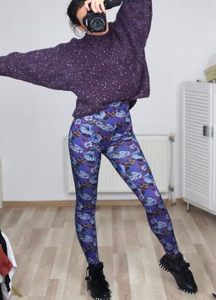 Эффектные стильные штаны лосины леггинсы skinny цветочный принт высокая посадка,