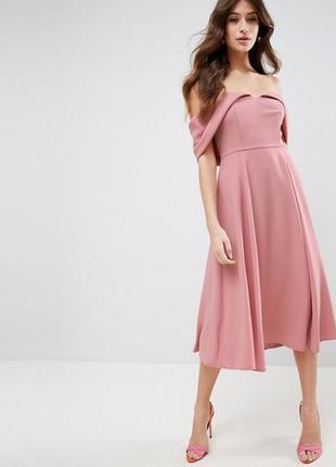 Рожева сукня міді з відкритими плечиками asos❤️