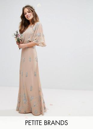 Шикарное платье на одно плечо с вышивкой бисером тм maya