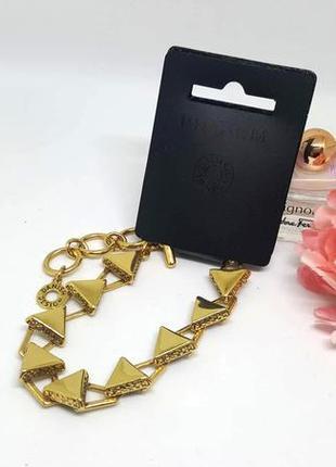 Изысканный браслет золотые треугольники pilgrim дания элитная бижутерия