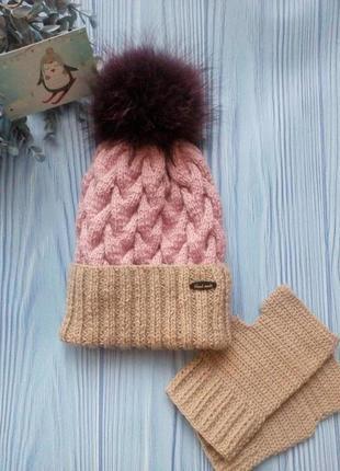 ❄ стильный вязаный комплект шапка и митенки hand made❄