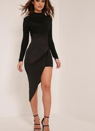 Обнова! платье черное ассиметричное мини миди водолазка prettylittlething