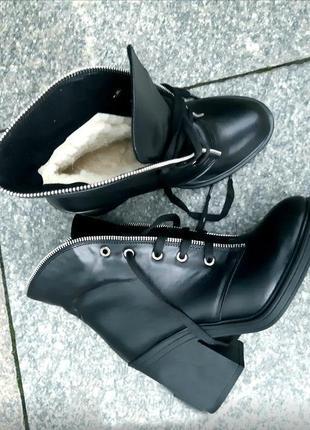 Ботинки зимние натуральная кожа, замша, черние, бордо