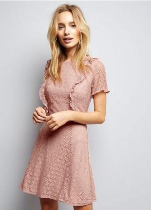 Гипюровое платье с воланами new look