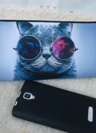 Классный клатч-косметичка с котиком в очках, новый
