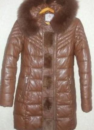 Пуховик куртка экокожа