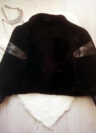 Черная зимняя натуральная мужская дубленка кожанка на меху с карманами теплая куртка3 фото
