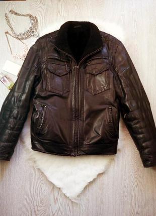 Черная зимняя натуральная мужская дубленка кожанка на меху с карманами теплая куртка2 фото