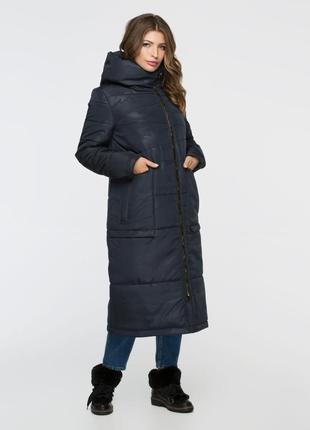 Скидка зимняя длинная куртка 44-56р синяя милитари камуфляж