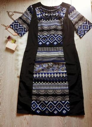 Черное платье миди с синим белым орнаментом вишиванки в камнях стразы рисунок нарядное