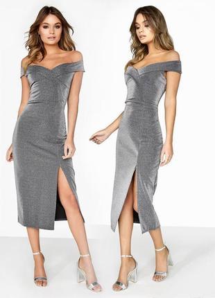 Серебрянное платье миди outrageous fortune с открытыми плечами c сайта asos