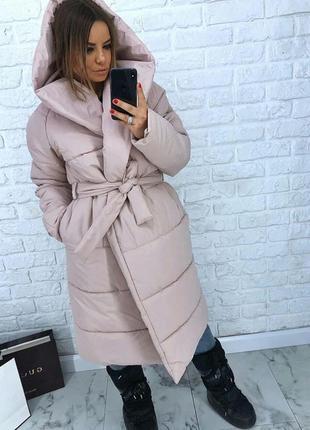 Шикарный новый бежевый теплый зимний пуховик одеяло(пальто,куртка) s,m,l,xl 42 44 46 48 50