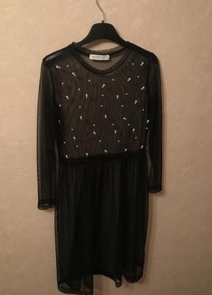 Платье сетка zara с жемчугом