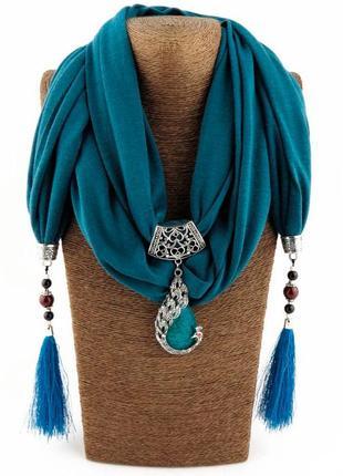 Шарф платок женский runmeifa sw730 с подвесным натуральным камнем, зеленый синий