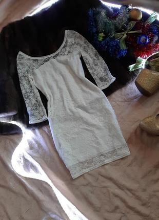 Кружевное белое платье мини от h&m
