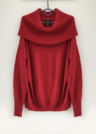 Объемный темно-красный свитер оверсайз с шерстью ellos швеция
