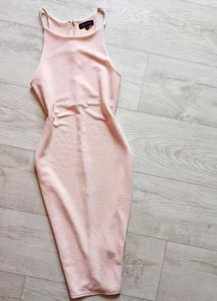 Платье миди по фигуре пудрового цвета new look