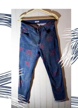 Крутые джинсы трендовые на высокой посадке roxy кюлоты актуальные хлопок