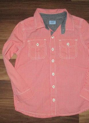Яркая котоновая рубашка в клетку фирмы f&f на 6-7 лет