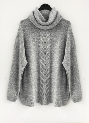 Объемный серый меланжевый свитер oversize оверсайз  janina германия