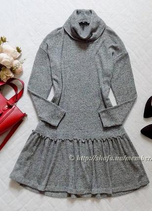 Теплое платье с оборкой river island, размер 10-12 (см. замеры)