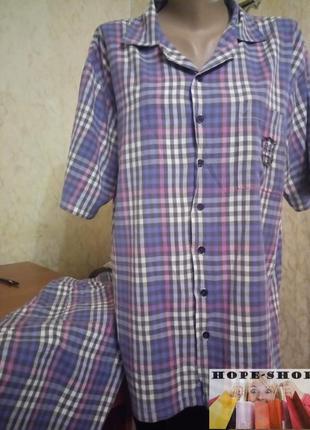 Мужская бомбезная клетчатая пижама на пуговицах с длинными шортами