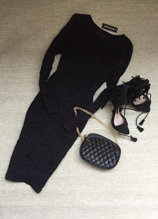 Шикарное ажурное миди платье