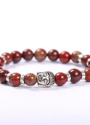 Красивый браслет с буддой из натурального камня