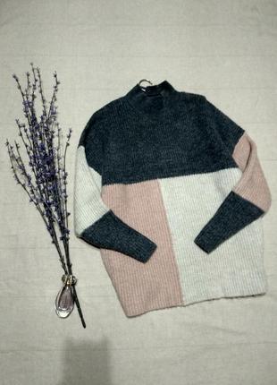 Невероятный свитер оверсайз колорблок