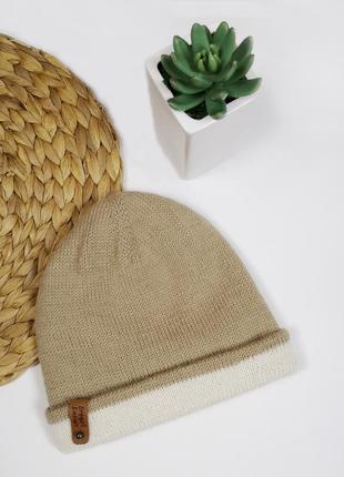 Bregoli design двойная шапка бини бежевая капучино альпака меринос