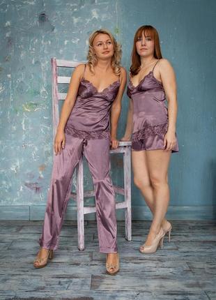 Пижама serenade 343 майка и штаны шелк и кружево s m l xl