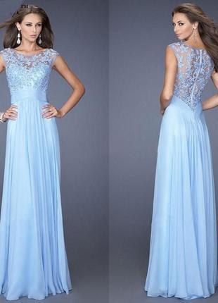 Нежное вечернее платье с вышивкой оттенок baby-blue на новый год / корпоратив