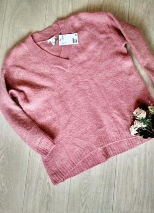 Теплый свитер джемпер оверсайз, в составе шерсть и мохер
