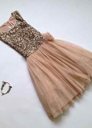 Пышное новогоднее платье в пайетки для девочки 6-7-8 лет