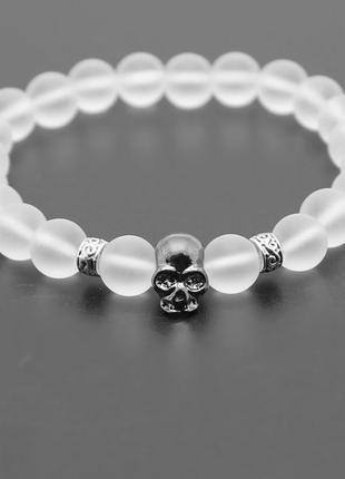 Мужской браслет с черепом  необычный белый цвет