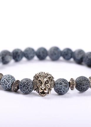 Очень стильный мужской браслет со львом, синий