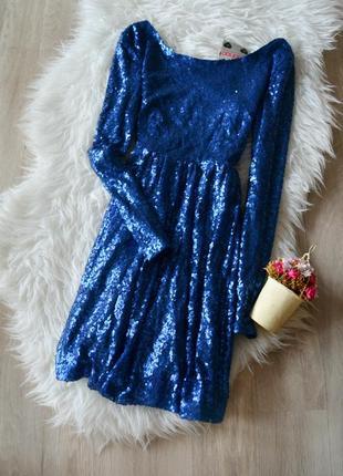 Новое платье в пайетки с открытой спинкой boohoo