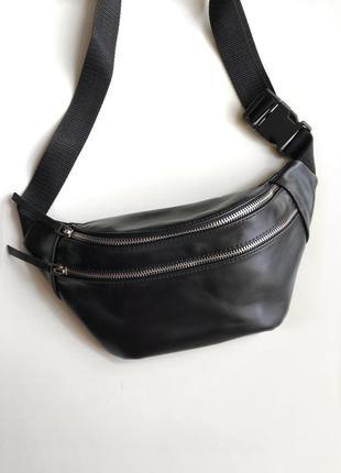 Поясная сумка унисекс, кожаная базовая сумка на пояс,бананка с метал. замками .