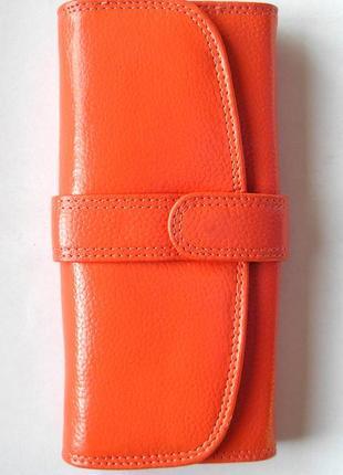 Кожаный классический кошелек персик, 100% натуральная кожа, есть доставка бесплатно