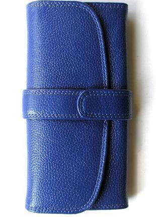Кожаный классический кошелек электрик, 100% натуральная кожа, есть доставка бесплатно